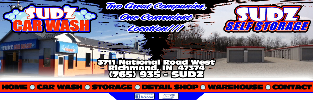 Sudz car wash sudz self storage richmond indiana 765 935 sudz sudz car wash and sudz self storage are conveniently located at 3711 national road west in historic richmond indiana solutioingenieria Choice Image